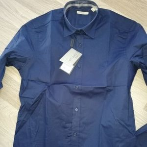 BURBERRY BRIT NAVY BLUE MEN`S LONG SLEEVE SHIRT